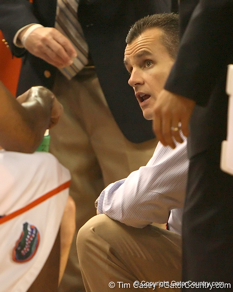 photo by Tim Casey<br /> <br /> Florida head coach Billy Donovan talks with his team during the second half of the Gators' 108-49 win in an exhibition game against the Warner Southern Royals on Monday, November 3, 2008 at the Stephen C. O'Connell Center in Gainesville, Fla.