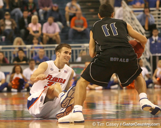 photo by Tim Casey<br /> <br /> Florida sophomore guard/forward Nick Calathes falls down during the second half of the Gators' 108-49 win in an exhibition game against the Warner Southern Royals on Monday, November 3, 2008 at the Stephen C. O'Connell Center in Gainesville, Fla.