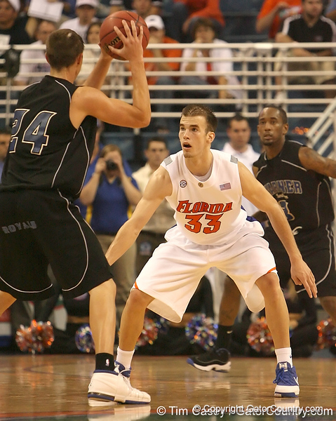photo by Tim Casey<br /> <br /> Florida sophomore guard/forward Nick Calathes eyes Chris Brach during the first half of the Gators' exhibition game against the Warner Southern Royals on Monday, November 3, 2008 at the Stephen C. O'Connell Center in Gainesville, Fla.