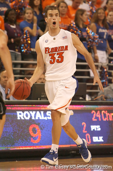 photo by Tim Casey<br /> <br /> Florida sophomore guard/forward Nick Calathes calls out a play during the first half of the Gators' exhibition game against the Warner Southern Royals on Monday, November 3, 2008 at the Stephen C. O'Connell Center in Gainesville, Fla.