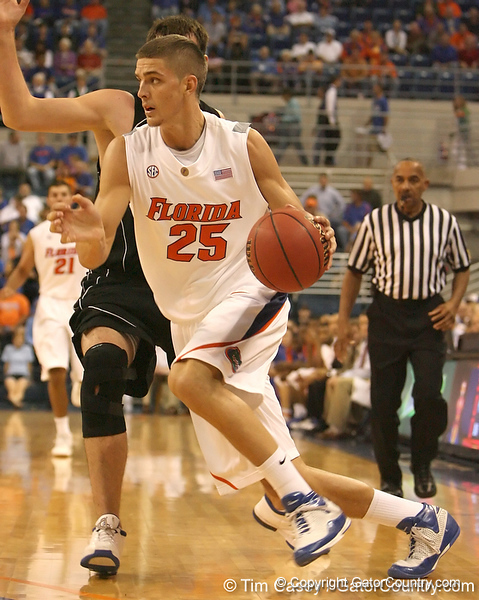 photo by Tim Casey<br /> <br /> Florida sophomore forward Chandler Parsons drives to the basket during the first half of the Gators' exhibition game against the Warner Southern Royals on Monday, November 3, 2008 at the Stephen C. O'Connell Center in Gainesville, Fla.