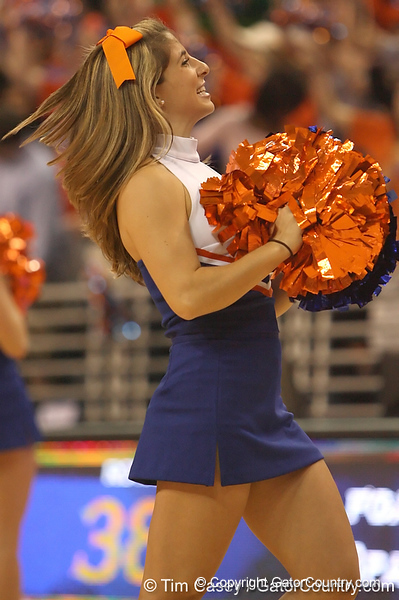 photo by Tim Casey<br /> <br /> Florida cheerleaders perform during the second half of the Gators' 108-49 win in an exhibition game against the Warner Southern Royals on Monday, November 3, 2008 at the Stephen C. O'Connell Center in Gainesville, Fla.