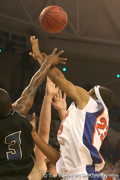 photo by Tim Casey<br /> <br /> Florida sophomore forward Alex Tyus gets fouled during the first half of the Gators' exhibition game against the Warner Southern Royals on Monday, November 3, 2008 at the Stephen C. O'Connell Center in Gainesville, Fla.