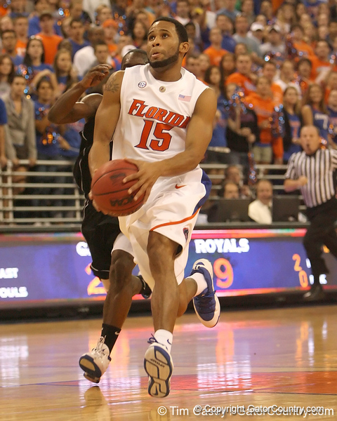 photo by Tim Casey<br /> <br /> Florida senior guard Walter Hodge goes up for a layup during the first half of the Gators' exhibition game against the Warner Southern Royals on Monday, November 3, 2008 at the Stephen C. O'Connell Center in Gainesville, Fla.