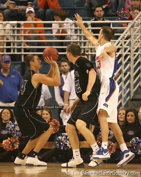 photo by Tim Casey<br /> <br /> Florida sophomore guard/forward Nick Calathes attempts to block a shot during the first half of the Gators' exhibition game against the Warner Southern Royals on Monday, November 3, 2008 at the Stephen C. O'Connell Center in Gainesville, Fla.