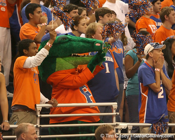 photo by Tim Casey<br /> <br /> Albert cheers from the student section during the first half of the Gators' exhibition game against the Warner Southern Royals on Monday, November 3, 2008 at the Stephen C. O'Connell Center in Gainesville, Fla.