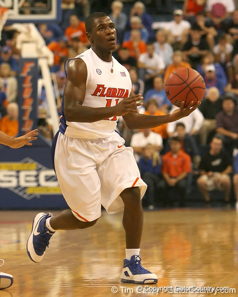 photo by Tim Casey<br /> <br /> Florida freshman guard Erving Walker looks to pass during the first half of the Gators' exhibition game against the Warner Southern Royals on Monday, November 3, 2008 at the Stephen C. O'Connell Center in Gainesville, Fla.