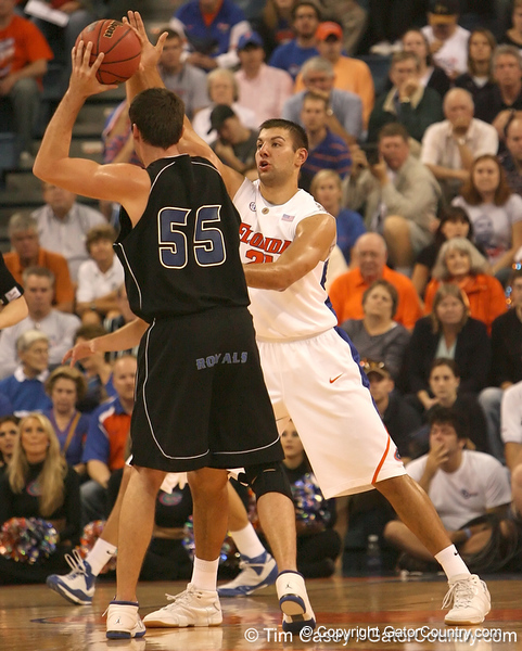photo by Tim Casey<br /> <br /> Florida junior forward Dan Werner guards Mirnes Islamovic during the first half of the Gators' exhibition game against the Warner Southern Royals on Monday, November 3, 2008 at the Stephen C. O'Connell Center in Gainesville, Fla.