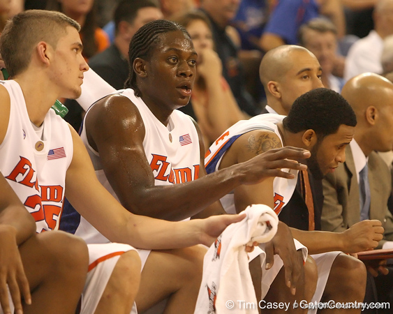 photo by Tim Casey<br /> <br /> Florida freshman guard/forward Ray Shipman watches from the bench during the second half of the Gators' 108-49 win in an exhibition game against the Warner Southern Royals on Monday, November 3, 2008 at the Stephen C. O'Connell Center in Gainesville, Fla.