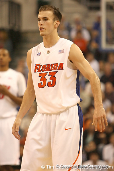 photo by Tim Casey<br /> <br /> Florida sophomore guard/forward Nick Calathes goes back on defense during the first half of the Gators' exhibition game against the Warner Southern Royals on Monday, November 3, 2008 at the Stephen C. O'Connell Center in Gainesville, Fla.