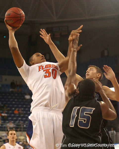photo by Tim Casey<br /> <br /> Florida freshman forward/center Kenny Kadji shoots a jump shot during the second half of the Gators' 108-49 win in an exhibition game against the Warner Southern Royals on Monday, November 3, 2008 at the Stephen C. O'Connell Center in Gainesville, Fla.