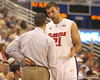 photo by Tim Casey<br /> <br /> Florida junior forward Dan Werner talks with head coach Billy Donovan during the second half of the Gators' 108-49 win in an exhibition game against the Warner Southern Royals on Monday, November 3, 2008 at the Stephen C. O'Connell Center in Gainesville, Fla.