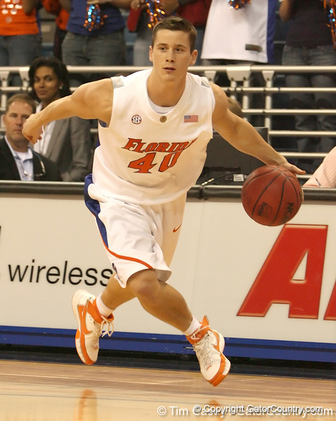 photo by Tim Casey<br /> <br /> Florida sophomore guard Hudson Fricke drives to the basket during the second half of the Gators' 108-49 win in an exhibition game against the Warner Southern Royals on Monday, November 3, 2008 at the Stephen C. O'Connell Center in Gainesville, Fla.