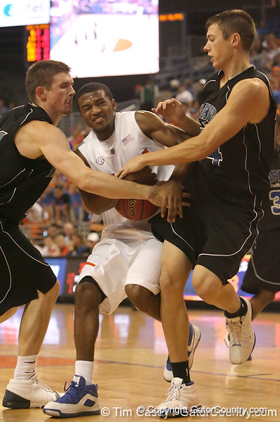 photo by Tim Casey<br /> <br /> Florida sophomore guard Jai Lucas gets fouled during the second half of the Gators' 108-49 win in an exhibition game against the Warner Southern Royals on Monday, November 3, 2008 at the Stephen C. O'Connell Center in Gainesville, Fla.