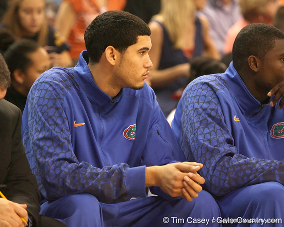 photo by Tim Casey<br /> <br /> Florida freshman forward/center Eloy Vargas watches from the bench during the second half of the Gators' 108-49 win in an exhibition game against the Warner Southern Royals on Monday, November 3, 2008 at the Stephen C. O'Connell Center in Gainesville, Fla.