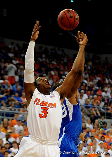 UF guard Ray Shipman grabs a rebound during the University of Florida Gators 60-53 victory over the Kentucky Wildcats on Friday, March 6, 2009 in the Steven C. O'Connell Center. / Gator Country photo by Casey Brooke lawson