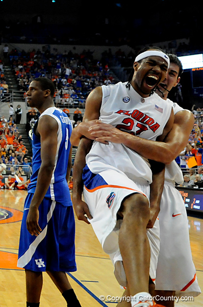 UF forward Alex Tyus receives a hug from Dan Werner after scoring during the University of Florida Gators 60-53 victory over the Kentucky Wildcats on Friday, March 6, 2009 in the Steven C. O'Connell Center. / Gator Country photo by Casey Brooke lawson