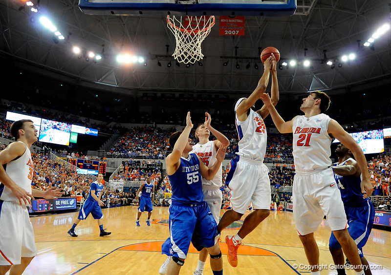 UF forward Alex Tyus grabs a rebound during the University of Florida Gators 60-53 victory over the Kentucky Wildcats on Friday, March 6, 2009 in the Steven C. O'Connell Center. / Gator Country photo by Casey Brooke lawson