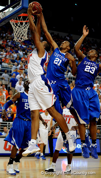 UF forward Kenny Kadji scores during the University of Florida Gators 60-53 victory over the Kentucky Wildcats on Friday, March 6, 2009 in the Steven C. O'Connell Center. / Gator Country photo by Casey Brooke lawson