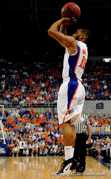 UF senior guard Walter Hodge shoots over a Kentucky player during the University of Florida Gators 60-53 victory over the Kentucky Wildcats on Friday, March 6, 2009 in the Steven C. O'Connell Center. / Gator Country photo by Casey Brooke lawson