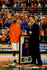UF Head Coach Billy Donovan and senior Walter Hodge stand together on senior day during the University of Florida Gators 60-53 victory over the Kentucky Wildcats on Friday, March 6, 2009 in the Steven C. O'Connell Center. / Gator Country photo by Casey Brooke lawson