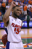 photo by Tim Casey<br /> <br /> Florida senior guard Walter Hodge waves to fans after the Gators' 60-53 win against the Kentucky Wildcats on Saturday, March 7, 2009 at the Stephen C. O'Connell Center in Gainesville, Fla.