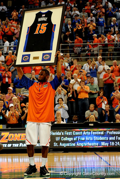 UF senior Walter Hodge holds up his jersey on senior day during the University of Florida Gators 60-53 victory over the Kentucky Wildcats on Friday, March 6, 2009 in the Steven C. O'Connell Center. / Gator Country photo by Casey Brooke lawson