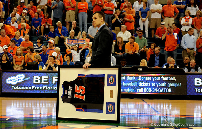 UF Head Coach Billy Donovan holds a jersey for senior Walter Hodge on Senior day during the University of Florida Gators 60-53 victory over the Kentucky Wildcats on Friday, March 6, 2009 in the Steven C. O'Connell Center. / Gator Country photo by Casey Brooke lawson