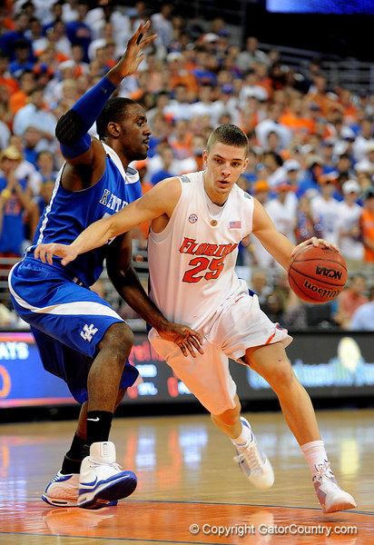 UF forward Chandler Parsons moves the ball around a Kentucky player during the University of Florida Gators 60-53 victory over the Kentucky Wildcats on Friday, March 6, 2009 in the Steven C. O'Connell Center. / Gator Country photo by Casey Brooke lawson