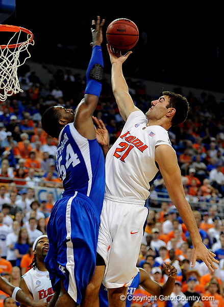 UF forward Dan Werner scores over a Kentucky player during the University of Florida Gators 60-53 victory over the Kentucky Wildcats on Friday, March 6, 2009 in the Steven C. O'Connell Center. / Gator Country photo by Casey Brooke lawson