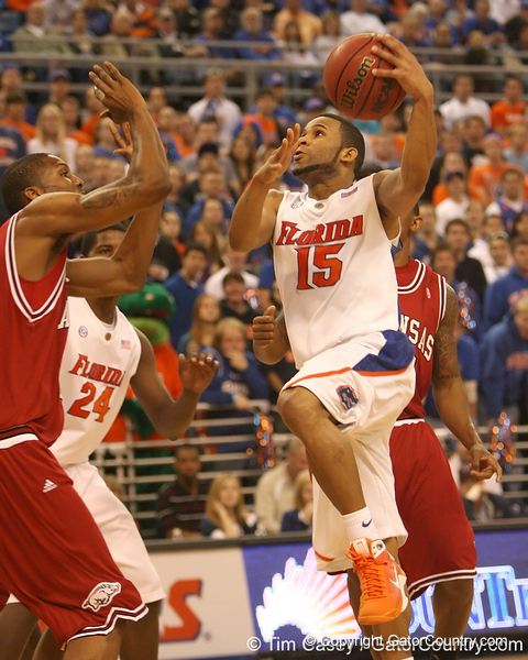 photo by Tim Casey<br /> <br /> Florida senior guard Walter Hodge shoots a layup during first half of the Gators' 80-65 win against the Arkansas Razorbacks on Saturday, January 17, 2009 at the Stephen C. O'Connell Center in Gainesville, Fla.
