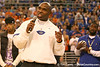 photo by Tim Casey<br /> <br /> Florida associate head coach/ defensive coordinator/ linebackers coach Charlie Strong addresses the crowd during halftime of the Gators' 80-65 win against the Arkansas Razorback on on Saturday, January 17, 2009 at the Stephen C. O'Connell Center in Gainesville, Fla.