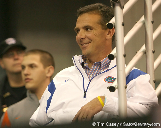 photo by Tim Casey<br /> <br /> Florida head coach Urban Meyer watches during first half of the Gators' 80-65 win against the Arkansas Razorbacks on Saturday, January 17, 2009 at the Stephen C. O'Connell Center in Gainesville, Fla.