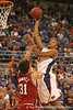 photo by Tim Casey<br /> <br /> Florida freshman forward/center Kenny Kadji attempts a jump shot during first half of the Gators' 80-65 win against the Arkansas Razorback on Saturday, January 17, 2009 at the Stephen C. O'Connell Center in Gainesville, Fla.