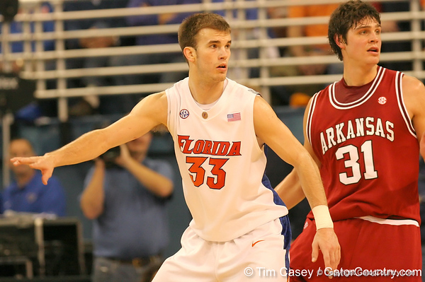 photo by Tim Casey<br /> <br /> Florida sophomore guard/forward Nick Calathes guards Michael Sanchez during first half of the Gators' 80-65 win against the Arkansas Razorbacks on Saturday, January 17, 2009 at the Stephen C. O'Connell Center in Gainesville, Fla.