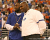 photo by Tim Casey<br /> <br /> Florida redshirt freshman running back Chris Rainey and associate head coach/ defensive coordinator/ linebackers coach Charlie Strong listen during halftime of the Gators' 80-65 win against the Arkansas Razorback on on Saturday, January 17, 2009 at the Stephen C. O'Connell Center in Gainesville, Fla.