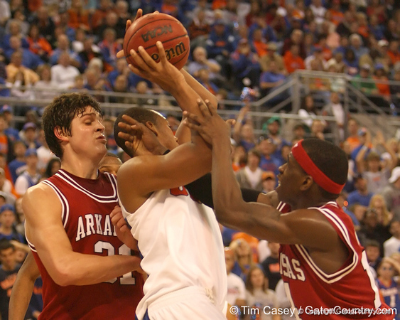 photo by Tim Casey<br /> <br /> Florida freshman forward/center Kenny Kadji looks to make a move after grabbing an offensive rebound during first half of the Gators' 80-65 win against the Arkansas Razorbacks on Saturday, January 17, 2009 at the Stephen C. O'Connell Center in Gainesville, Fla.