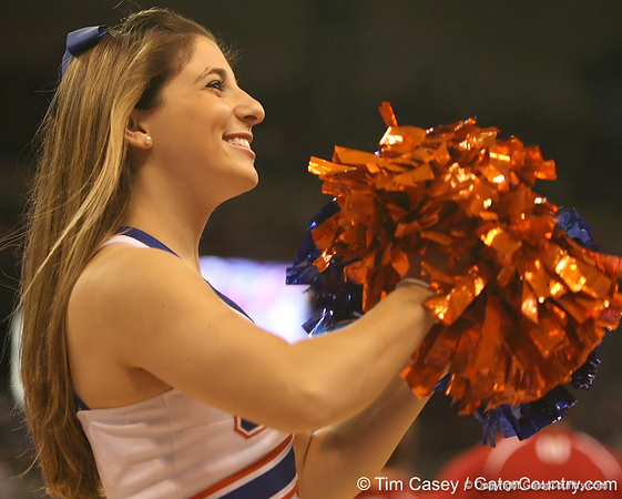 photo by Tim Casey<br /> <br /> A Florida cheerleader performs during first half of the Gators' 80-65 win against the Arkansas Razorbacks on Saturday, January 17, 2009 at the Stephen C. O'Connell Center in Gainesville, Fla.