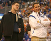 photo by Tim Casey<br /> <br /> Florida junior quarterback Tim Tebow and head coach Urban Meyer look on during halftime of the Gators' 80-65 win against the Arkansas Razorback on on Saturday, January 17, 2009 at the Stephen C. O'Connell Center in Gainesville, Fla.