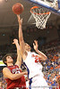 photo by Tim Casey<br /> <br /> Florida sophomore forward Chandler Parsons puts up a shot during the Gators' 80-65 win against the Arkansas Razorback on on Saturday, January 17, 2009 at the Stephen C. O'Connell Center in Gainesville, Fla.