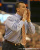 photo by Tim Casey<br /> <br /> Florida head coach Billy Donovan calls out a play during first half of the Gators' 80-65 win against the Arkansas Razorbacks on Saturday, January 17, 2009 at the Stephen C. O'Connell Center in Gainesville, Fla.