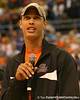 photo by Tim Casey<br /> <br /> Florida redshirt junior wide receiver David Nelson addresses the crowd during halftime of the Gators' 80-65 win against the Arkansas Razorback on on Saturday, January 17, 2009 at the Stephen C. O'Connell Center in Gainesville, Fla.