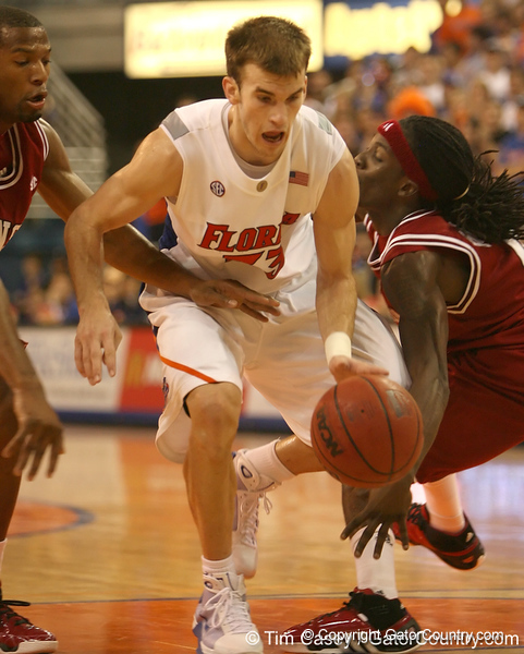 photo by Tim Casey<br /> <br /> Florida sophomore guard/forward Nick Calathes dribbles to the basket during the Gators' 80-65 win against the Arkansas Razorback on on Saturday, January 17, 2009 at the Stephen C. O'Connell Center in Gainesville, Fla.