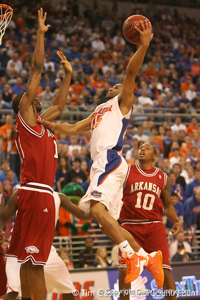 photo by Tim Casey<br /> <br /> Florida senior guard Walter Hodge puts up a shot during first half of the Gators' 80-65 win against the Arkansas Razorbacks on Saturday, January 17, 2009 at the Stephen C. O'Connell Center in Gainesville, Fla.