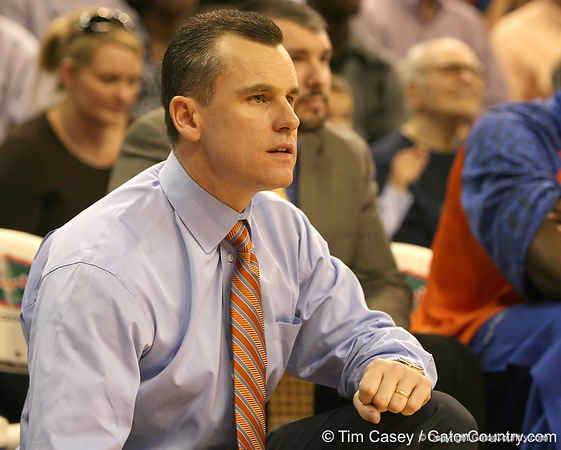 photo by Tim Casey<br /> <br /> Florida head coach Billy Donovan looks on during the Gators' 80-65 win against the Arkansas Razorback on on Saturday, January 17, 2009 at the Stephen C. O'Connell Center in Gainesville, Fla.