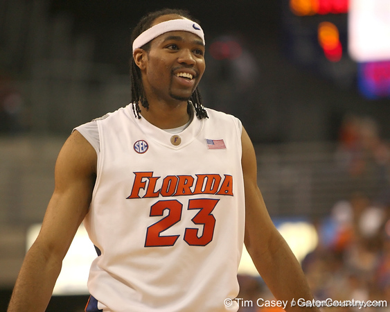 photo by Tim Casey<br /> <br /> Florida sophomore forward Alex Tyus smiles during the Gators' 80-65 win against the Arkansas Razorback on on Saturday, January 17, 2009 at the Stephen C. O'Connell Center in Gainesville, Fla.