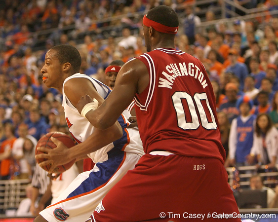 photo by Tim Casey<br /> <br /> Florida freshman forward/center Kenny Kadji makes a post move during the Gators' 80-65 win against the Arkansas Razorback on on Saturday, January 17, 2009 at the Stephen C. O'Connell Center in Gainesville, Fla.