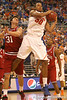 photo by Tim Casey<br /> <br /> Florida freshman forward/center Kenny Kadji grabs an offensive rebound during first half of the Gators' 80-65 win against the Arkansas Razorbacks on Saturday, January 17, 2009 at the Stephen C. O'Connell Center in Gainesville, Fla.