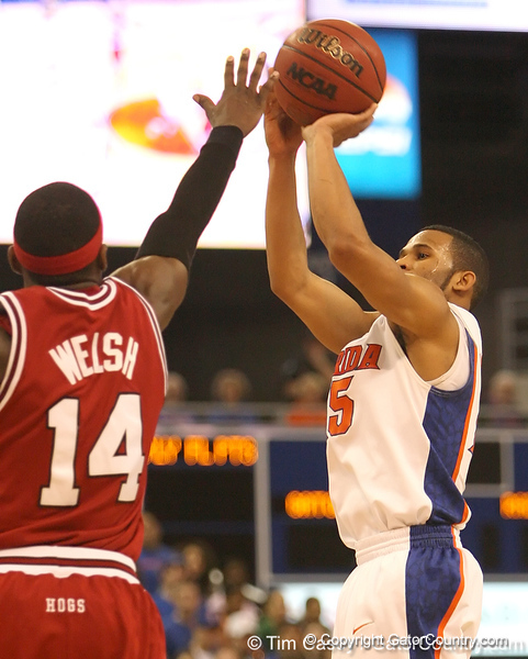 photo by Tim Casey<br /> <br /> Florida senior guard Walter Hodge attempts a three-point shot during first half of the Gators' 80-65 win against the Arkansas Razorback on Saturday, January 17, 2009 at the Stephen C. O'Connell Center in Gainesville, Fla.