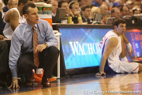 photo by Tim Casey<br /> <br /> Florida head coach Billy Donovan watches from the sideline during the Gators' 80-65 win against the Arkansas Razorback on on Saturday, January 17, 2009 at the Stephen C. O'Connell Center in Gainesville, Fla.